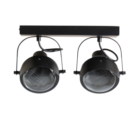 WOOOD Ceiling lamp 2 spots Lester black metal 33x14x19cm