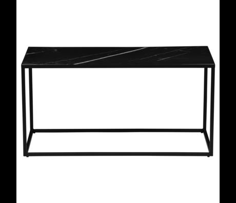 Table d'appoint Side L cadre en tôle aspect marbre de 90x45x45cm