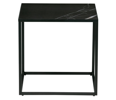 vtwonen Side table Side M marble look sheet metal frame 45x45x45cm