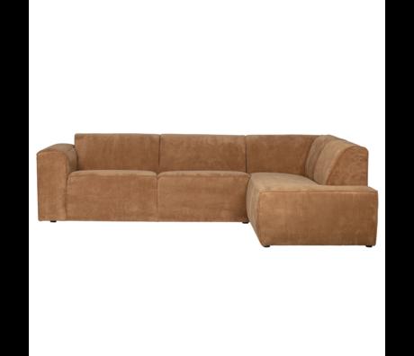 LEF collections Corner sofa Luna right honey yellow rib fabric 278x93 / 209x74cm