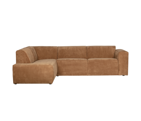 LEF collections Ecksofa Luna links honiggelber Rippenstoff 278x93 / 209x74cm