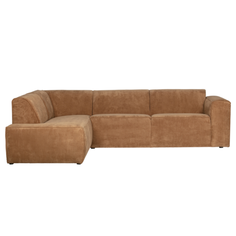 LEF collections Corner sofa Luna left honey yellow rib fabric 278x93 / 209x74cm