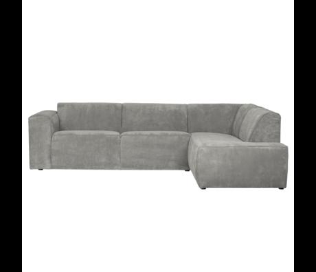 LEF collections Luna corner sofa right gray green rib fabric 278x93 / 209x74cm