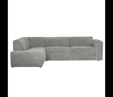 LEF collections Corner sofa Luna left gray green rib fabric 278x93 / 209x74cm