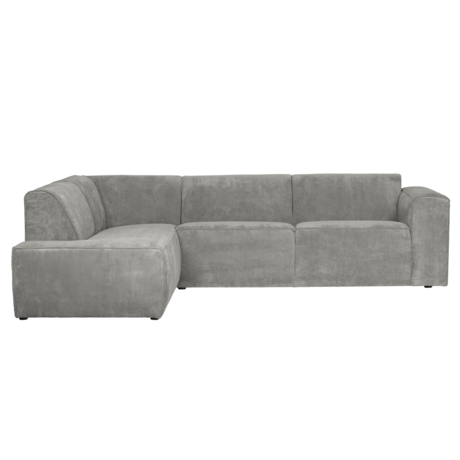LEF collections Ecksofa Luna links grau grün Rippe Stoff 278x93 / 209x74cm