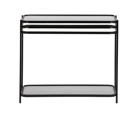 WOOOD Bijzettafel Kylie zwart metaal glas 60x36x51cm