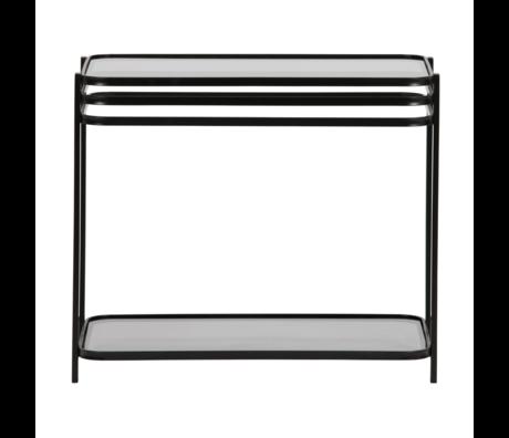 WOOOD Table d'appoint Kylie verre métal noir 60x36x51cm