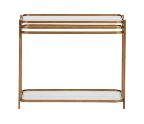 WOOOD Side table Kylie antique brass gold metal glass 60x36x51cm
