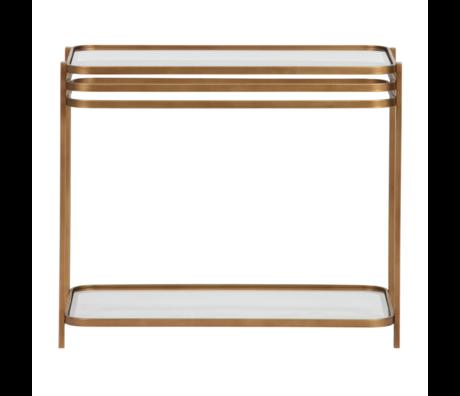 WOOOD Table d'appoint Kylie laiton antique verre doré 60x36x51cm