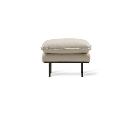 HK-living Hocker Retro textile beige 72x65x46cm