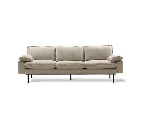 HK-living Sofa Retro Sofa 4-Sitzer beige Textil 245x83x95cm