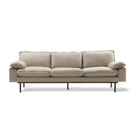 HK-living Bank Retro sofa 4-zits beige textiel 245x83x95cm
