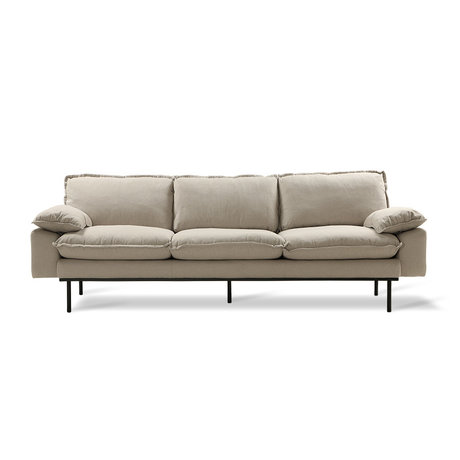 HKliving Sofa Retro sofa 4-seater beige textile 245x83x95cm