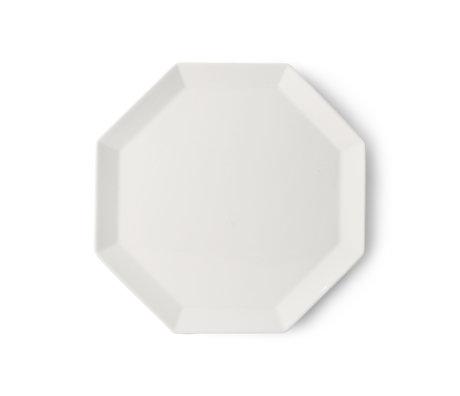 HK-living Assiette Athena en terre cuite blanche octogonale 27x27x1.5cm