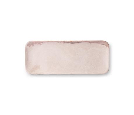 HK-living Plateau en marbre marbre rose 30x12x1.5cm