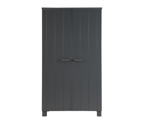 LEF collections Wardrobe 'Dennis' steel gray brushed pine 202x111x55cm