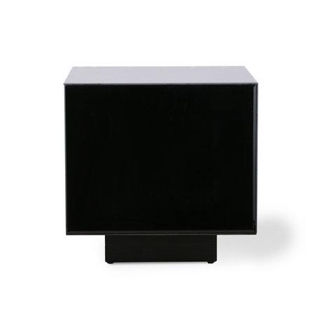 HK-living Table basse Block Mirror verre miroir noir bois M 40x40x40cm