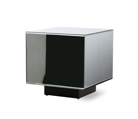 HK-living Table basse Block Mirror clair verre bois M 40x40x40cm