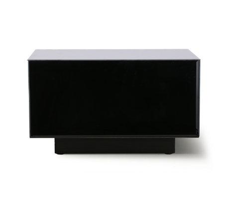 HK-living Coffee table Block Mirror black mirror glass wood L 60x60x35cm