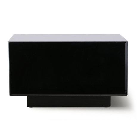 HK-living Table basse Block Mirror verre miroir noir bois L 60x60x35cm