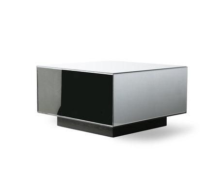 HK-living Table basse Block Mirror verre clair bois L 60x60x35cm