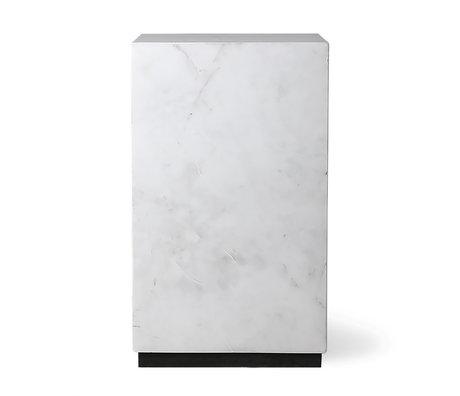 HK-living Bijzettafel Block wit marmer S 25x25x42cm