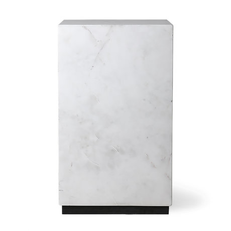 HK-living Side table Block white marble S 25x25x42cm