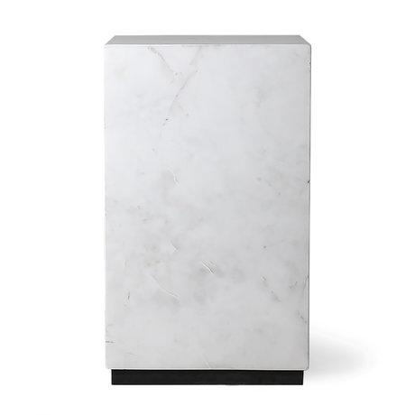 HK-living Table d'appoint Block marbre blanc S 25x25x42cm