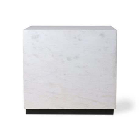 HK-living Table d'appoint Block marbre blanc L 35x35x32,5cm