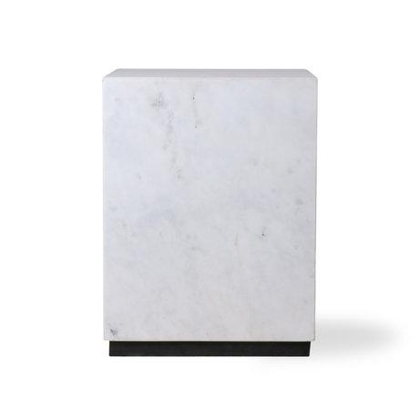 HK-living Bijzettafel Block wit marmer M 28x28x37,5cm