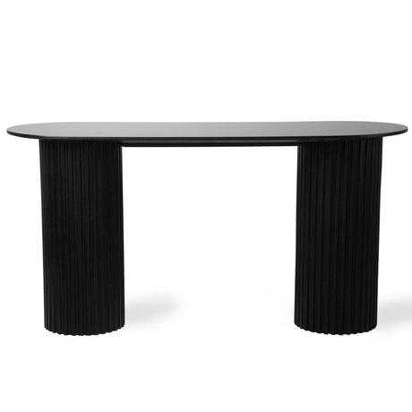HK-living Sidetable Pillar oval black wood 140x50x72cm