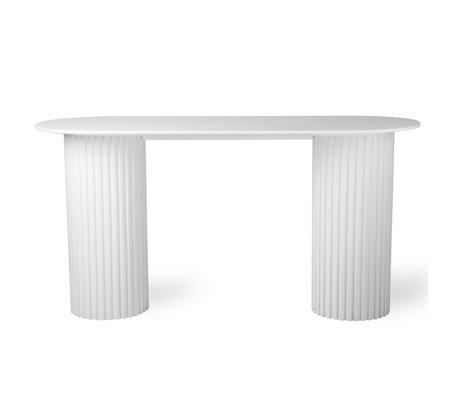 HK-living Sidetable Pillar oval white wood 140x50x72cm