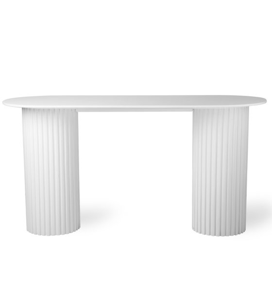 Sidetable Wit Hout.Sidetable Pillar Oval Wit Hout 140x50x72cm