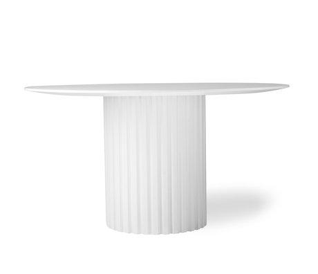 HK-living Esstisch Pillar rundes weißes Holz Ø140x75cm
