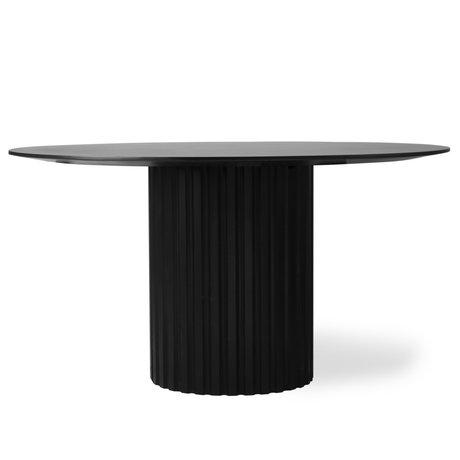 HK-living Dining table Pillar round black wood Ø140x75cm