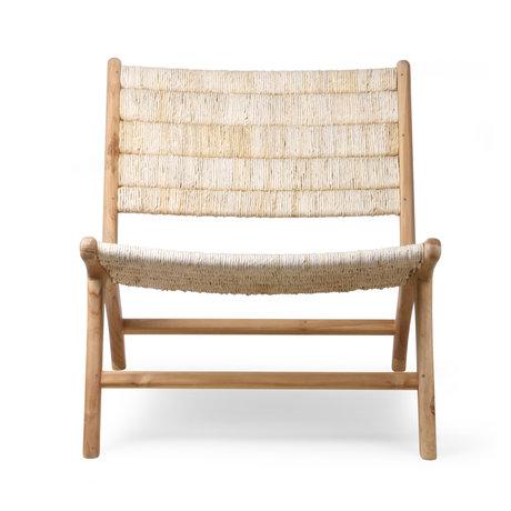 HK-living Fauteuil Abaca en bois de teck naturel brun 65x75x70cm