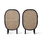 HK-living Table de chevet sangle rotin noir bois set de 2 38x33x62cm
