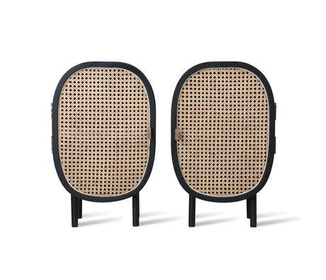 HK-living Nachttisch Gurtband aus schwarzem Rattanholz 2er-Set 38x33x62cm
