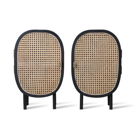 HK-living Bedside table Webbing black rattan wood set of 2 38x33x62cm