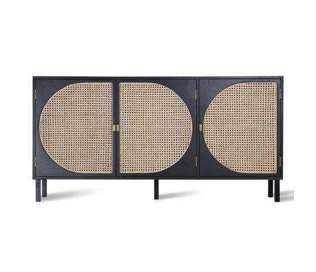 HK-living Buffet Sangles en rotin noir 160x40x81cm