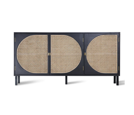 HK-living Dressoir Webbing zwart rotan hout 160x40x81cm