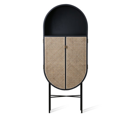 HK-living Buffet Retro en bois de rotin ovale noir 65x30x160cm