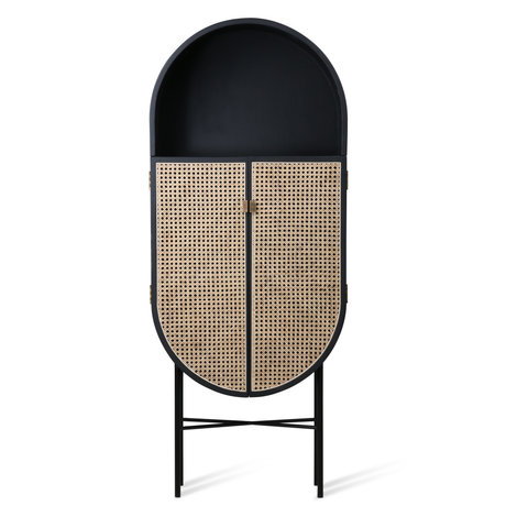 HK-living Armoire Retro ovale en rotin noir bois 65x30x160cm
