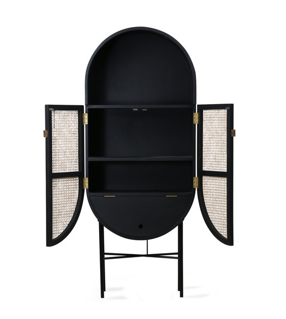 Hk Living Cupboard Retro Oval Black Rattan Wood 65x30x160cm