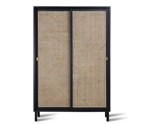 HK-living Cabinet sliding door Webbing black wood 95x40x140cm