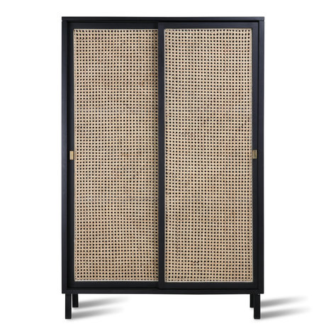 HK-living Cabinet porte coulissante sangle bois noir 95x40x140cm