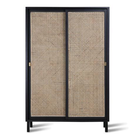 HK-living Kabinetkast schuifdeur Webbing zwart hout 95x40x140cm