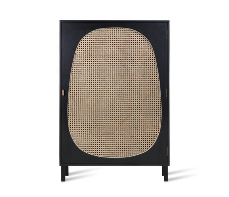 HK-living Kabinetkast Webbing zwart hout 85x35x122cm