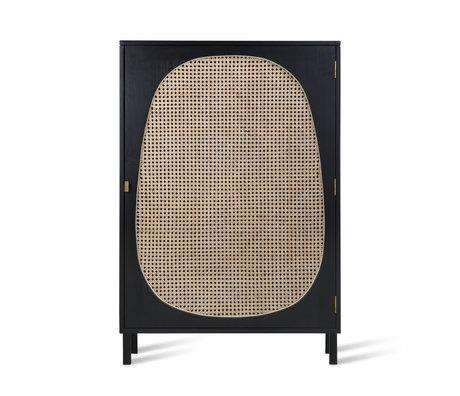 HK-living Kabinett Gurt schwarz Holz 85x35x122cm