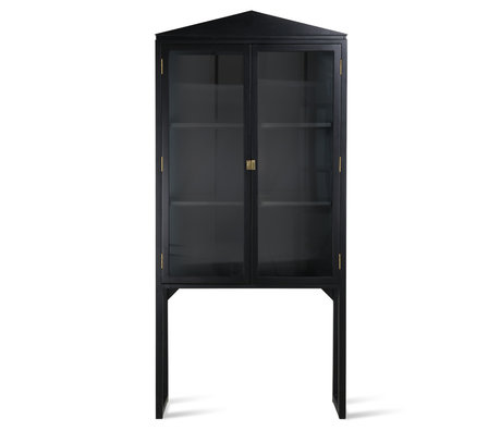 HK-living Cabinet Crested black glass wood 80x36x160cm